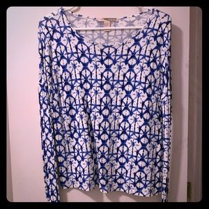 Blue and White long sleeve top